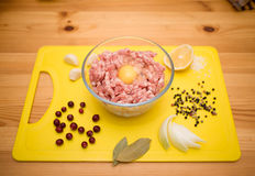Minced meat in bowl with spices and egg Royalty Free Stock Images