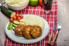 Minced meat in breadcrumbs Royalty Free Stock Images