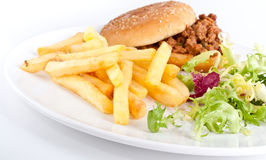 Minced meat burger Royalty Free Stock Photos