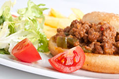 Minced meat burger Stock Image