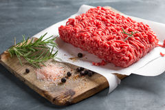Minced meat on butcher pape Royalty Free Stock Image