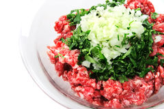 Minced meat close up. Mince beef close up  top view Stock Photo