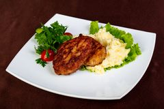 Minced meat cutlet. With mashed potato royalty free stock images