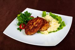Minced meat cutlet. With mashed potato royalty free stock photo