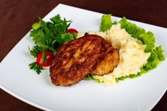 Minced meat cutlet. With mashed potato royalty free stock photos