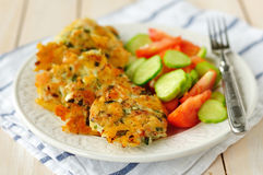 Minced meat cutlets with fresh tomato and cucumber salad. Selective focus Royalty Free Stock Photography