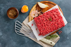 Minced meat on cutting board with spices Royalty Free Stock Photo