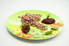 Minced meat with dill and ketchup Stock Photo