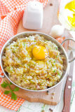 Minced meat with egg Stock Images