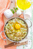 Minced meat with egg. In a bowl Royalty Free Stock Photos