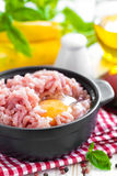 Minced meat with egg. In a bowl on a table Royalty Free Stock Images