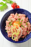Minced meat. And egg yolk in a bowl Royalty Free Stock Photo