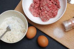 Minced Meat with Eggs and Onion on the Wooden Board over Dark blue Background. Food Preparing. Recipe. Minced Meat with Eggs and Onion on the Wooden Board over Stock Image
