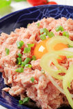 Minced meat. Fresh ground meat and egg yolk in a bowl Royalty Free Stock Images
