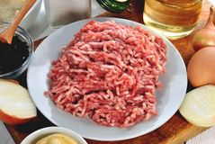 Minced meat and ingredients Royalty Free Stock Images