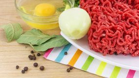 Minced meat and ingredients for cooking Stock Photo