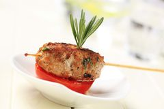Minced meat kebab Stock Images