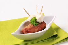 Minced meat kebab and baby mozzarella Stock Image