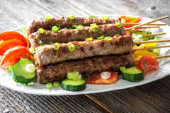 Minced meat kebab with fresh vegetable Stock Photo