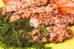 Minced meat kebab Royalty Free Stock Images