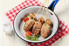 Minced meat kebabs Stock Images