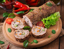 Minced meat loaf roll with mushrooms Stock Photography