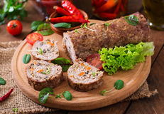 Minced meat loaf roll with mushrooms Stock Photo