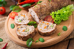 Minced meat loaf roll with mushrooms Royalty Free Stock Photography