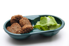 Minced meat meat with salad leaf Stock Photography