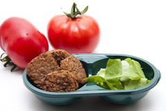 Minced meat meat with salad leaf Stock Image