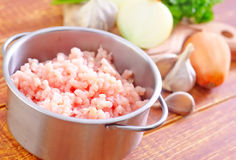 Minced meat. In metal bowl Royalty Free Stock Photos