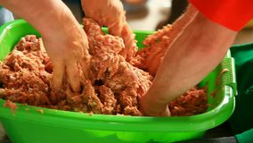 Minced meat mixing stock video