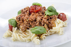 Minced meat with noodle Royalty Free Stock Photography