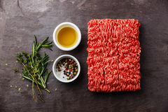 Minced meat with pepper, oil and herbs Stock Photography