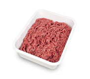 Minced meat in plastic box Royalty Free Stock Photos