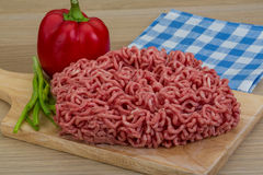 Minced meat. From pork and beef with pepper Royalty Free Stock Photos