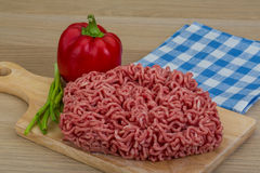 Minced meat. From pork and beef with pepper Royalty Free Stock Image