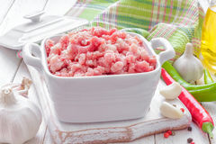 Minced meat. In a pot Royalty Free Stock Image