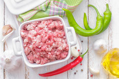 Minced meat. In a pot Royalty Free Stock Photography
