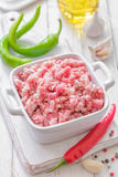 Minced meat. In a pot Stock Image