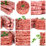 Minced meat products collage Stock Photos