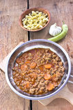 Minced meat sauce with vegetables cooked Stock Image