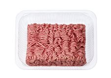 Minced meat in the shop packing Royalty Free Stock Photo