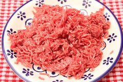 Minced meat. Some raw minced meat of beef and pork Royalty Free Stock Photo