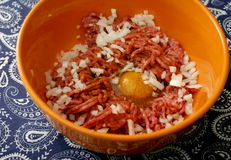 Minced meat. Some raw minced meat of pork and beef Royalty Free Stock Photography