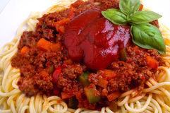 Minced meat spaghetti Bolognese. With  chunky vegetables and tomato sauce Stock Image