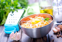 Minced meat. With spice and raw egg Royalty Free Stock Photo