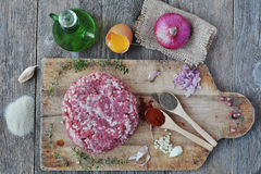 Minced meat with spices, egg and bread crumbs. Stock Photos
