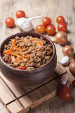 Minced meat stewed with cherry tomatoes Royalty Free Stock Images