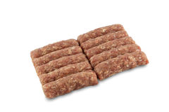 Minced meat from supermarket. Isolated on white with clipping path Royalty Free Stock Photos
